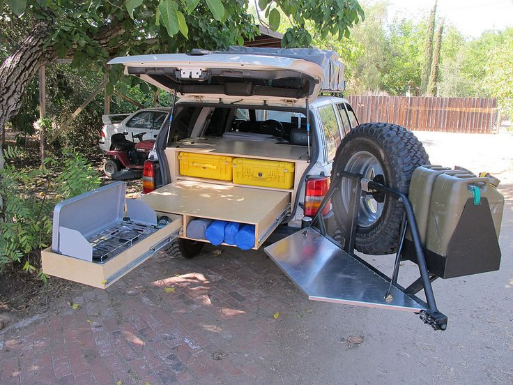 "Excellent DIY vehicle storage system on a 1998 Jeep ZJ ""SHTFV"". Lot's more photos of this system on  Expedition Portal."