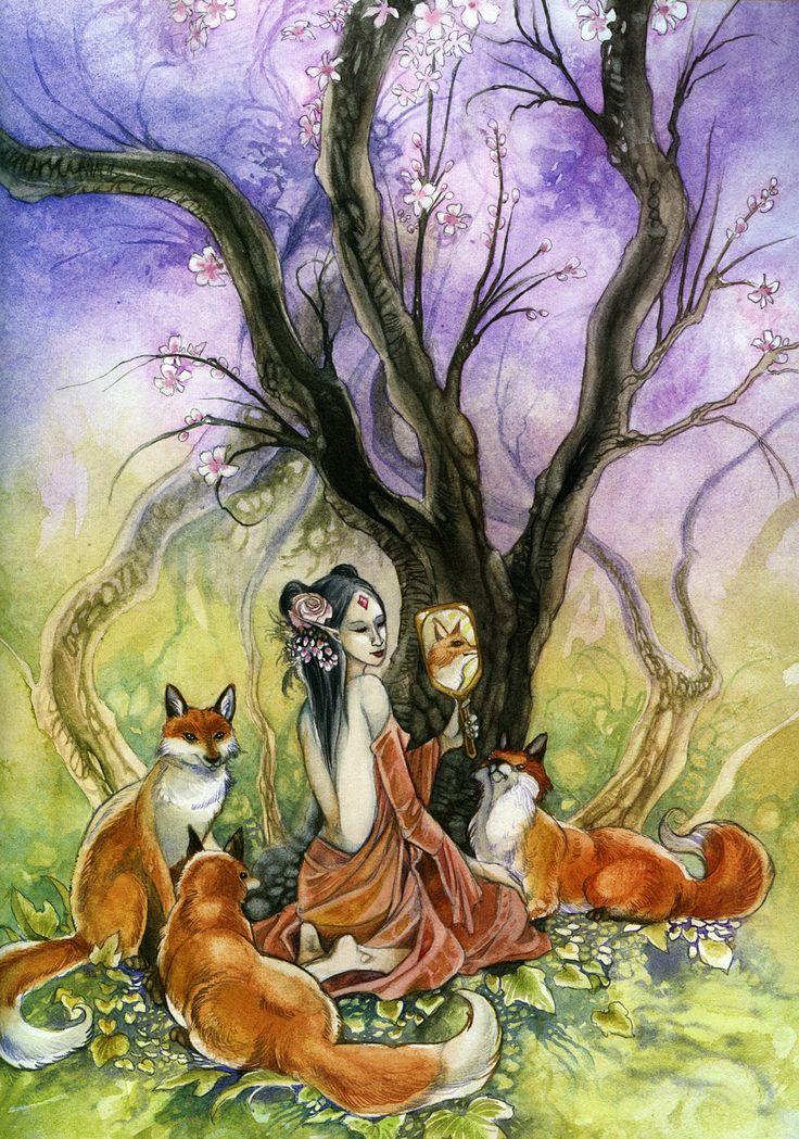 Asian myths kitune fox women