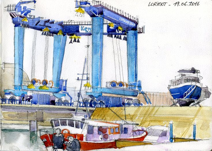 "Aujourd'hui, 10ème édition de ""port en fête"". Beaucoup de monde dans le port de pêche. J'en profite pour croquer la grue de l'aire de réparation navale, capable de soulever des charges de 650 t Aquarelle sur carnet Moleskine 21x30 cm  Today, 10th anniversary of ""Party in port"". Many people visiting the fishport. A good opportunity to sketch the crane of the repair ship area, able to lift loads of 650 t. Watercolor on Moleskine sketchbook 21x30 cm"