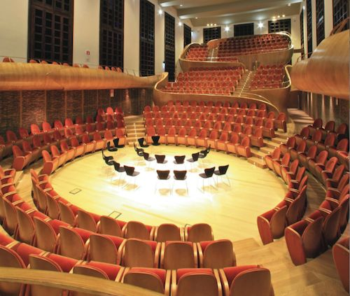 """""""Giovanni Arvedi"""" auditorium. Designed by Giorgio Palù and MIchele Bianchi for the ARvedi and Buschini fundation, category Design for communication. Compasso d'oro since they have realized """"with beutyness and elegance the armony concept such as a bis musical instrument"""""""