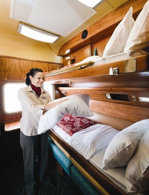 Gold Service Twin on the on the Ghan and Indian Pacific. I had the top bunk. Another challenge met. During the day, the bunks fold up and a sofa is in place of the bottom bunk. Simply folds into place.