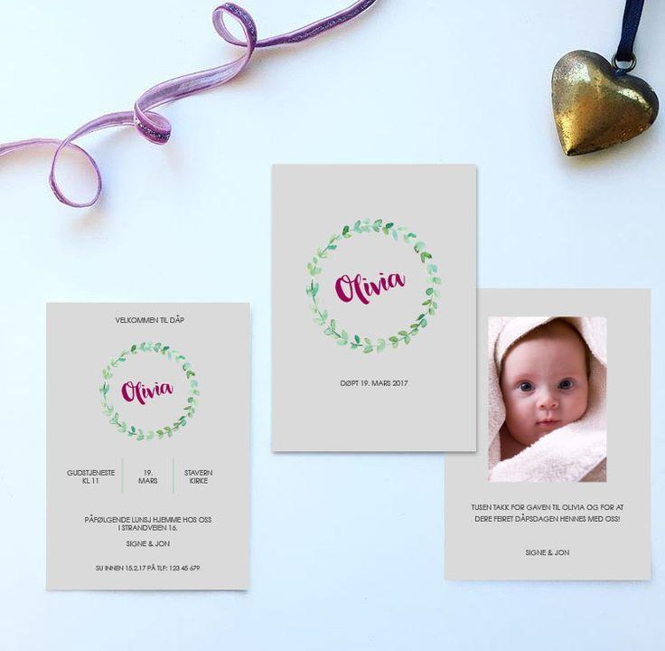 Invitasjon og takkekort til dåp/navnefest i design 'Grønn krans 1' // ELM DESIGNKOLLEKTIV 2016