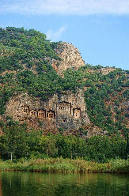 Lycian rock-cut tombs above Dalyan river, Kaunos, Turkey, c 4th century BC by katunchik