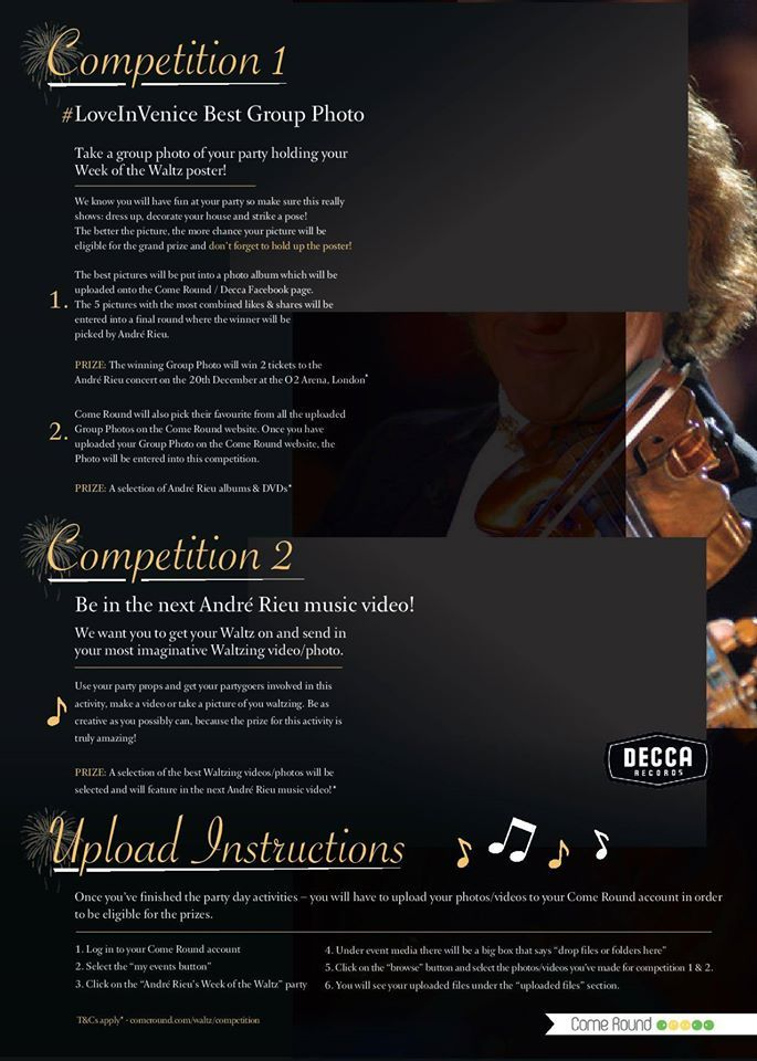 The André Rieu Week of the Waltz competition prizes have been announced! #LoveInVenice