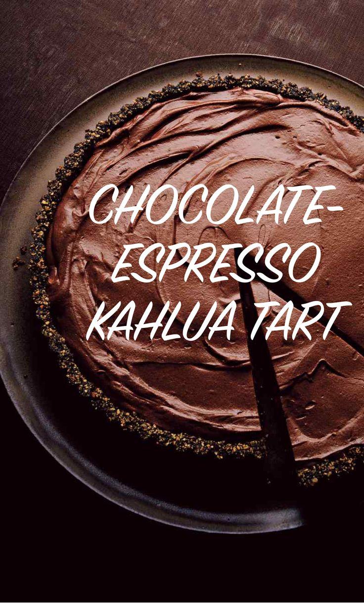 Chocolate-Espresso Kahlua Tart | Martha Stewart Living - A mocha tart laced with Kahlua is poised to work its seductive magic on the palate.
