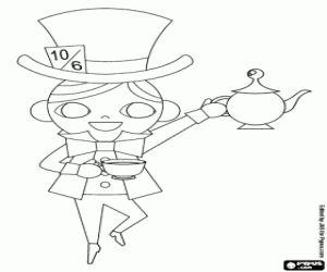 desenho de O Chapeleiro Louco para colorir