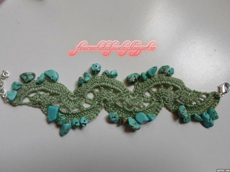 Crochet bracelet with turquoise