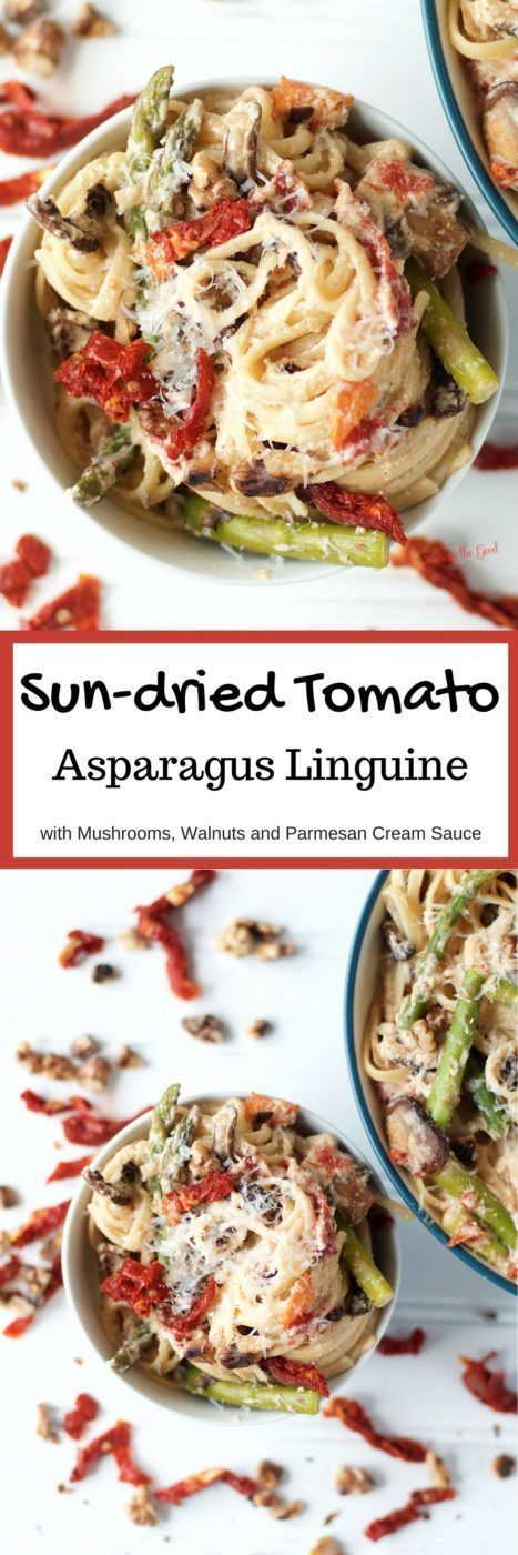 An easy and delicious recipe to make for a family meal. Al dente linguine, tender asparagus, bright and tangy sun-dried tomatoes with the crunchy, nuttiness of toasted walnuts, folded together with a creamy parmesan sauce. A satisfying meal for any night