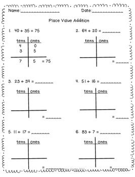 This is a quick 2 page Place Value Addition worksheet.   This can be used as a center or for individual class work.  Addition goes up to 100