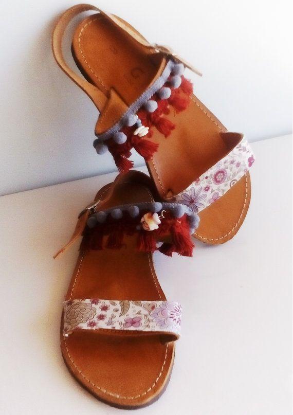 Greek sandals, Pom pom shoes, Bohemian summer look, Genuine leather
