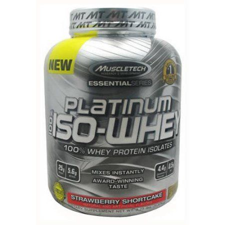 MuscleTech 100% Platinum Iso-Whey, Strawberry Shortcake, 3.34 LB