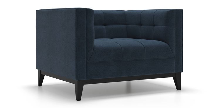Nigel Arm Chair in Deep Water Blue Fabric by Kavuus.com (Made in Canada)