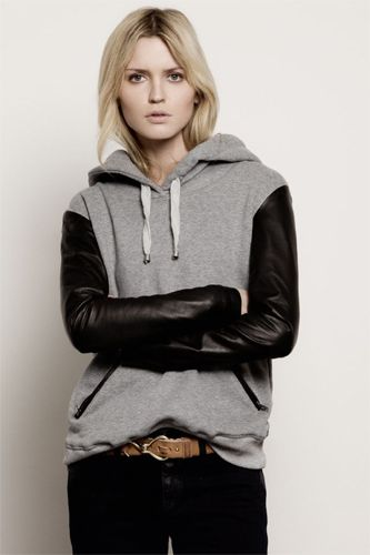 Yes PLEASE to a hooded sweatshirt with leather sleeves