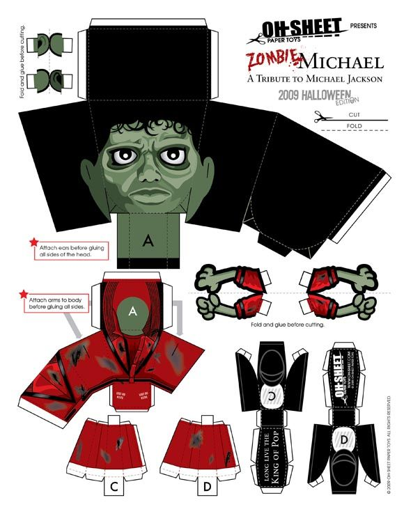 Michael Jackson Thriller paper toy & others.  Fun!                                                                                                                                                     More
