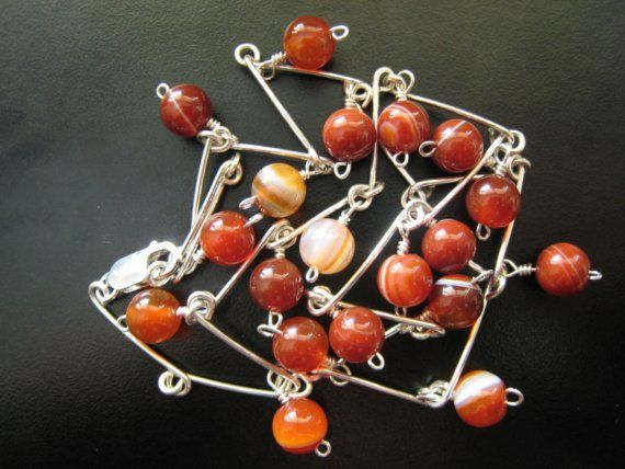 Handmade Sterling Silver Chain with Carnelian.  by ZaZing on Etsy, $75.00