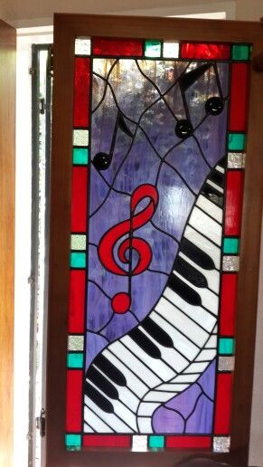 Fun music stained glass panel by Jeanne of Creative Stained Glass