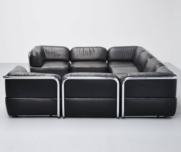 Geoffrey Harcourt; Leather and Chromed Metal 'Element' Sofa for Artifort, 1973.