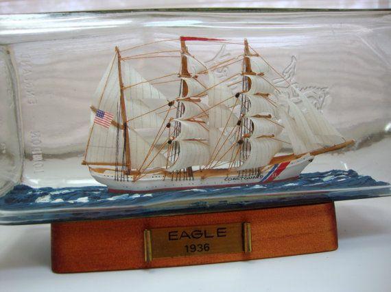 US Coast Guard Eagle Ship in a Bottle by AzaleaAttic on Etsy, $32.00