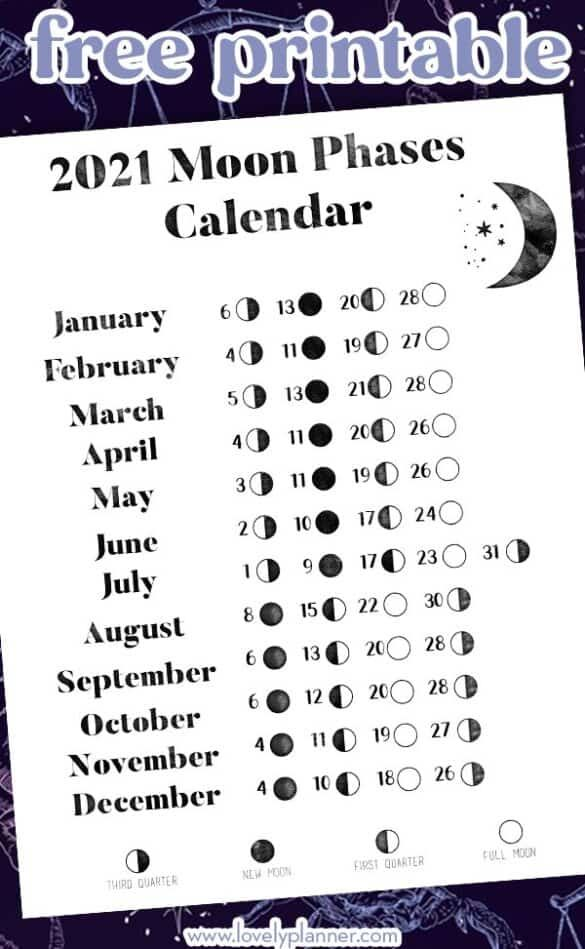 Free Printable 2021 Moon Phases Calendar   Lovely Planner | Moon