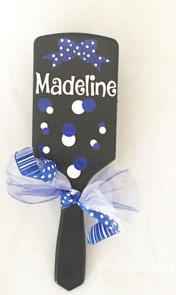 Personalized hair brush, custom hair brush, paddle brush, cheer gift, drill team gift, dance gift, cheerleader, team gift, game day, competition gift. All brushes are black. Please leave name and colors. Group orders available
