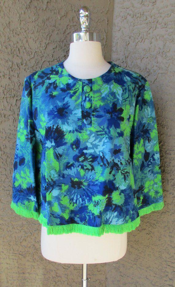 Vintage Fringe Top 70s Boho Shirt Flower Power Top 1970s