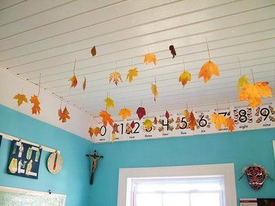 Dip leaves in wax & hang from classroom ceiling to decorate for the fall