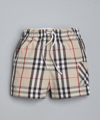 f7b5f5a5b2578 Burberry : BABY tan nova check swim trunks : style # 320560701  #babyswimtrunks
