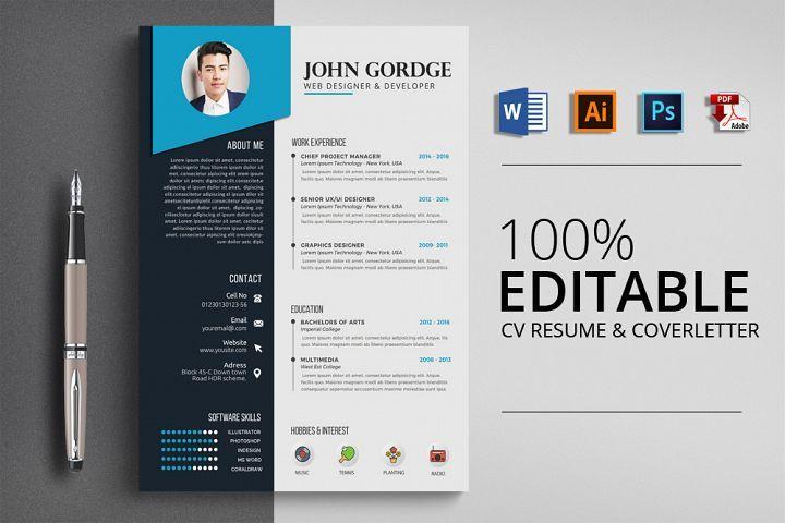 Cv Word Resume Template 123019 Resume Templates Design Bundles Desain Cv Cv Kreatif Desain