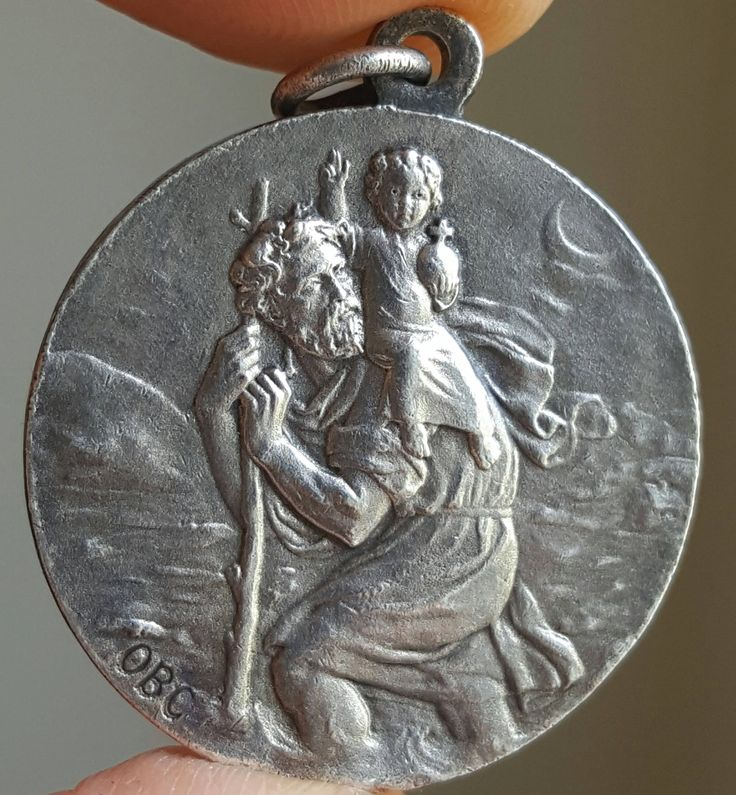 Vintage French Saint Christopher Medal Art Deco St Christopher and Jesus Catholic Jewelry Religious Jewelry Talisman by SacredBarcelona on Etsy