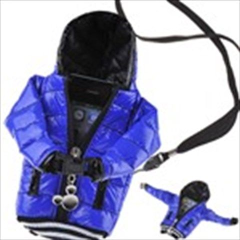 Blue Down Jacket Style Carrying Bag Zippered Pouch Wallet with Strap for Mobile Phone