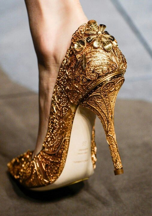 Looks like Cinderella's shoe from Into the Woods! I am wondering if I could take old heels and turn them into these...