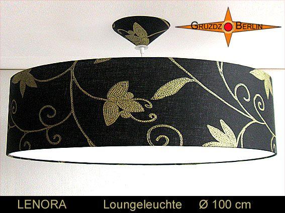 Loungeleuchte LENORA, Ø 100 cm Pendellampe mit Diffusor und Baldachin. Einmal mehr: Ein wunderbarer Stoff mit eleganter Wirkung   aus schwarzem Leinen und goldfarbenem Blütendruck.