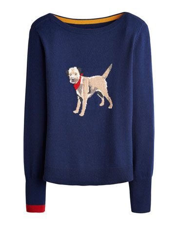 Joules Womens Intarsia Jumper, Dog.                     Crafted for a super-soft feel and adorned with a cool animal intarsia that is guaranteed to raise a smile whenever it makes an appearance, this jumper is great to add a bit of character to your wardrobe.