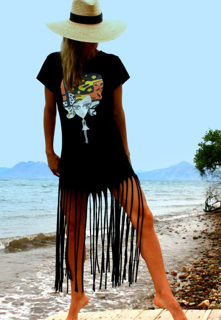 I love Greek summers and walking barefoot on the sand .    My black fringe dress with my favorite Art figure Matilda  on it ,made of super    soft quality cotton,gives me a sensation of utter style and freedom .