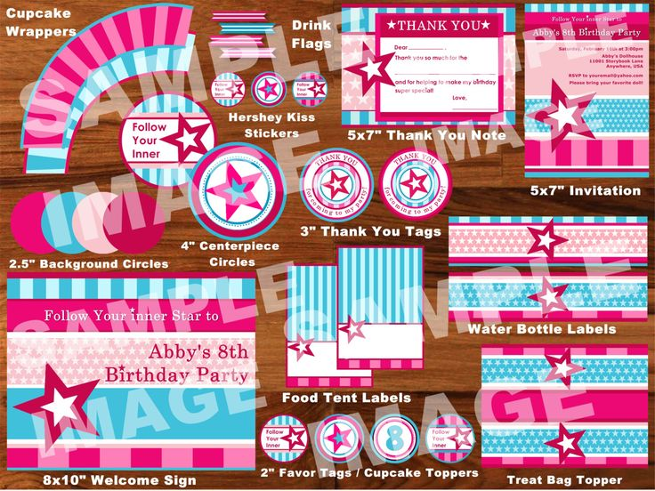American Girl Party Package - Doll Party Pack - American Girl Doll Birthday Party - Party Printable Package - Stars Stripes. $29.00, via Etsy.