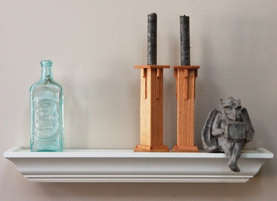 Handcrafted Candle Holders, Mission Style/Arts & Crafts Syle, in Oak. Home Goods - Decor