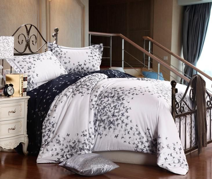 luxury egyptian cotton black white butterfly satin comforter bedding set queen size duvet cover bed in a bag sheets bedspread bedroom quilt