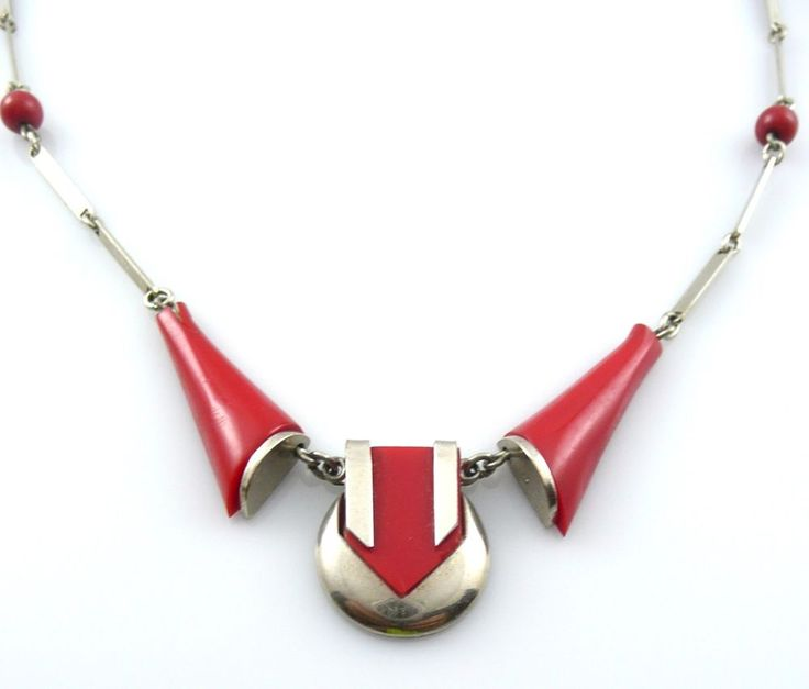Vintage 1930s Art Deco Machine Age Jakob Bengel Chrome & Red Galalith NECKLACE #JakobBengelGermany