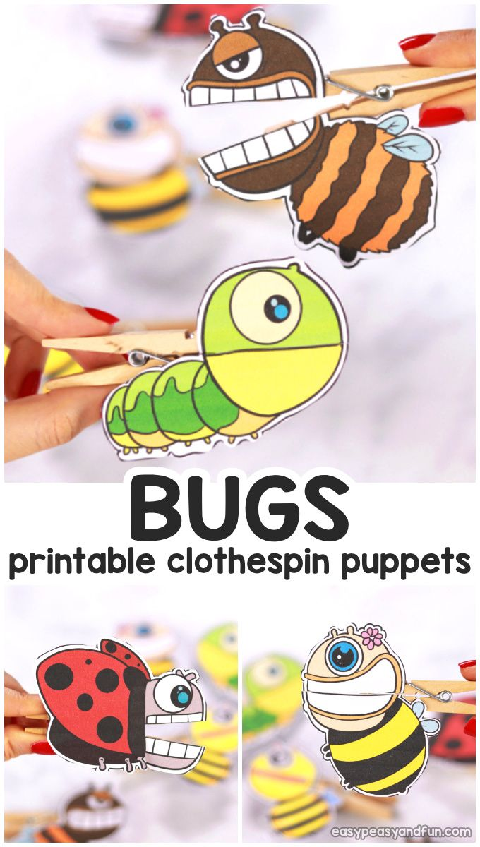 Bugs Clothespin Puppets Puppets For Kids Spring Crafts For Kids Insect Crafts