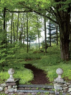 Bunny Williams - CT garden stone steps entry garden forest path