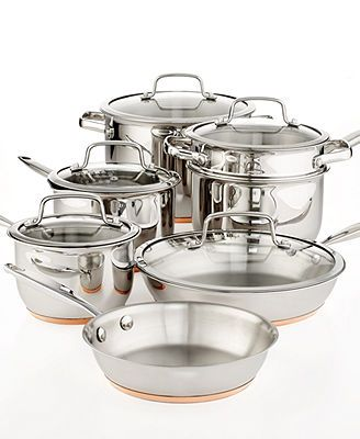 Martha Stewart Collection Copper Accent Cookware, 12 Piece Set