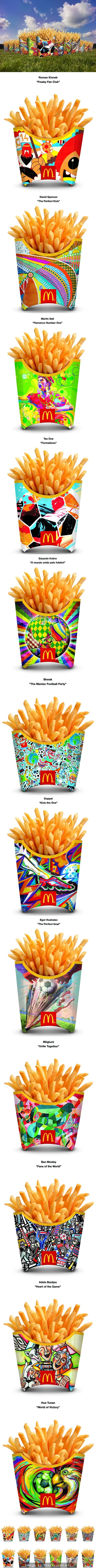 McDonald\'s Kick-Off FIFA World Cup™ With First-Ever Global French Fry Packaging Redesign ================  The artists showcased on the specially-designed fry boxes include:  Australia: David Spencer, Artwork Title - 'The Perfect Kick'  Brazil: Eduardo Kobra, Artwork Title - 'O mundo unido pelo futebol' (translation: 'The world united by football') Canada: Mügluck, Artwork Title - 'Unite Together'  China: Hua Tunan, Artwork Title - 'World of Victory' England: Ben Mosley, Artwork ...