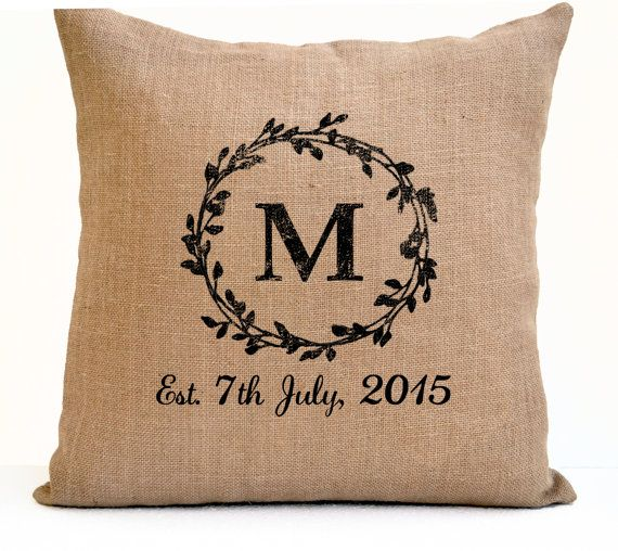 Couple Pillow Cover Monogram Pillow Est Date Pillow by AmoreBeaute