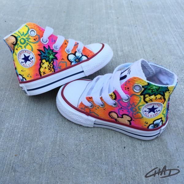 Aloha Minnie Hand painted Kids Converse shoes – chadcantcolorcustoms