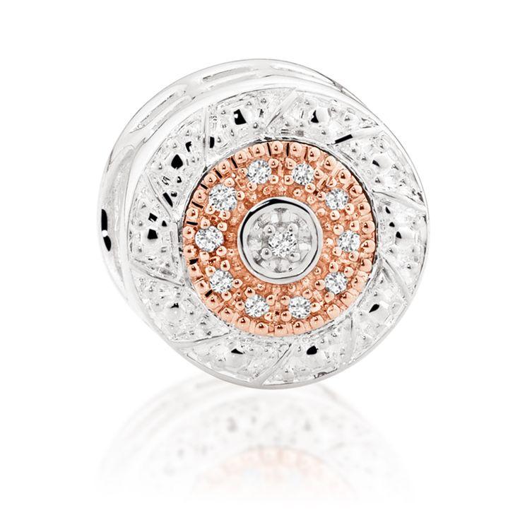 Diamond set, rose gold  sterling silver charm (11989981) #rosegold #emmaandroe