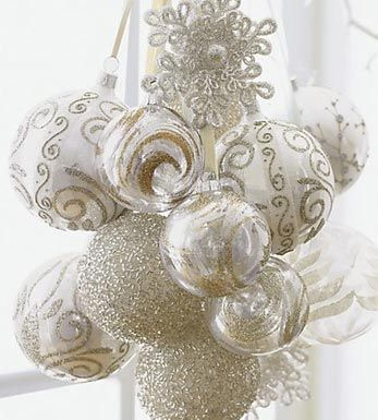 ornament love....use vintage and new ornaments...hung on ribbon and bunched together...