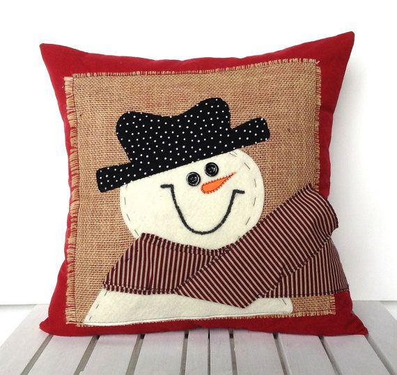 Snowman Christmas Pillow cover, 20x20, holiday pillow, decorative pillow, cushion, Christmas decoration