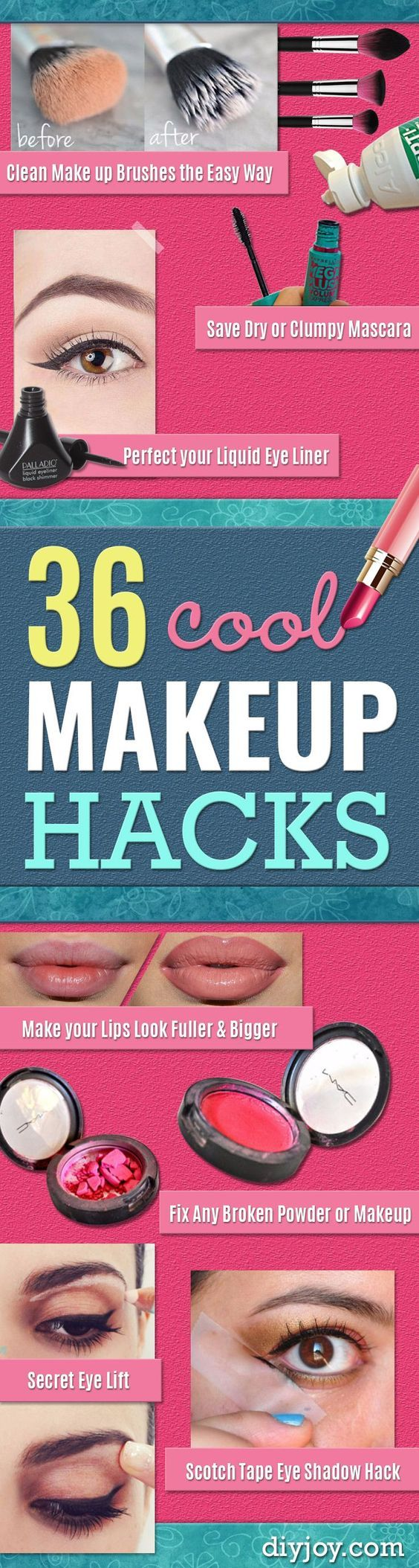 Cool DIY Makeup Hacks for Quick and Easy Beauty Ideas - How To Fix Broken Makeup, Tips and Tricks for Mascara and Eye Liner, Lipstick and Foundation Tutorials - Fast Do It Yourself Beauty Projects for Women http://diyjoy.com/makeup-hacks: