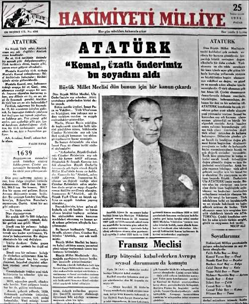 1934 - Soyadı Kanunu kabul edildi.