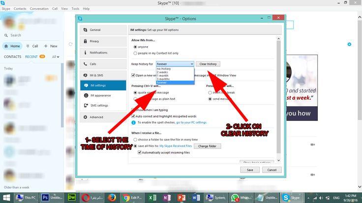 how to delete skype hystory